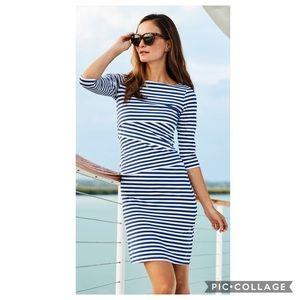 J. McLaughlin Nicola Tiered Dress Brown/Blue